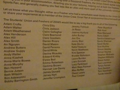 List of Union Crew Members/Volunteers in 2004