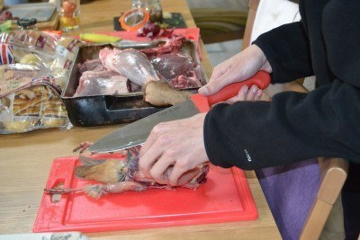 Slicing the partridge. Photo from Chloe at Gastronomic Gorman
