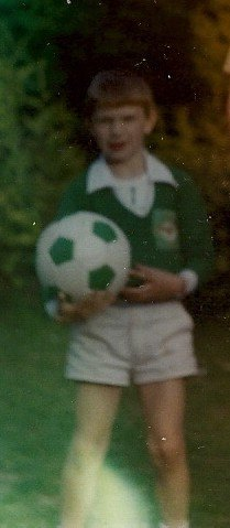 In my back garden in Marlo dreaming of becoming Norman Whiteside in the 1980s.