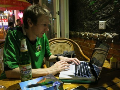 Typing up my travel blog in Yangshuo China