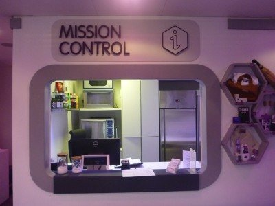 The Mission Control (Reception) of the stylish modern Yotel in Gatwick