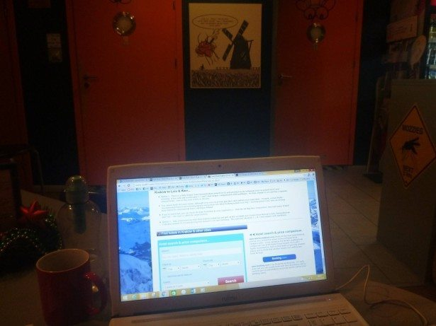 Working at the Mosquito Hostel in Krakow - fast WiFi