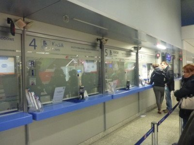 The booking office inside Krakow train station, Poland