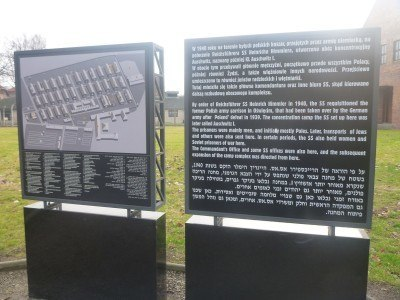 Information board at the entrance to Auschwitz.