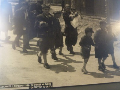 Women and children arrive at Auschwitz.