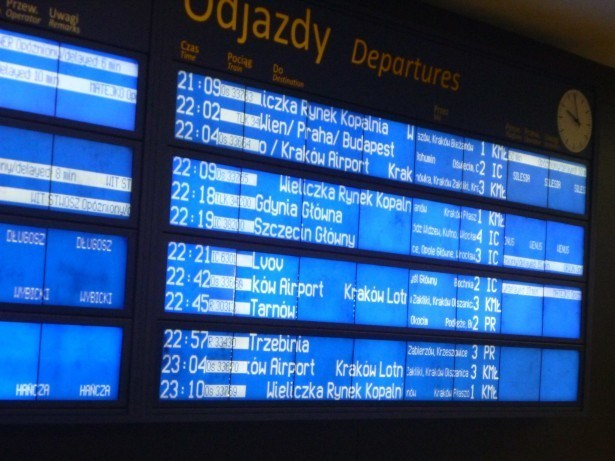 Train timetable in Krakow, Poland