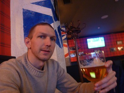 Having a beer in the Winky C Pub