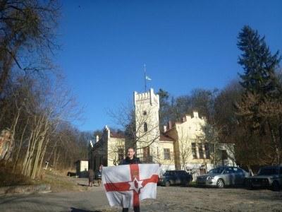 Flying the Northern Ireland flag in Lviv, Ukraine