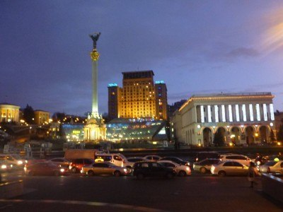 Doing a free night tour of Kiev, Ukraine