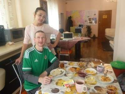 Eating in Almaty Backpackers with Dinara