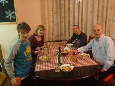 Cheers from Almaty with Jessica, Oliver and Mark