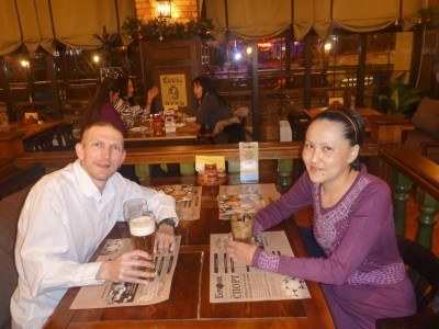 Bolmira and I having a farewell drink in Bochonok Bar, Almaty