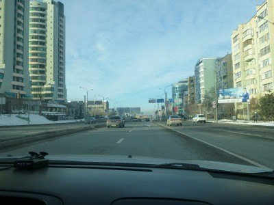 Driving through Almaty by taxi