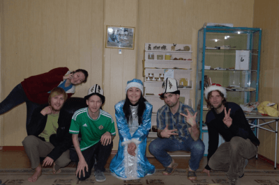 Backpacking in Kyrgyzstan - Apple Hostel crowd in Bishkek