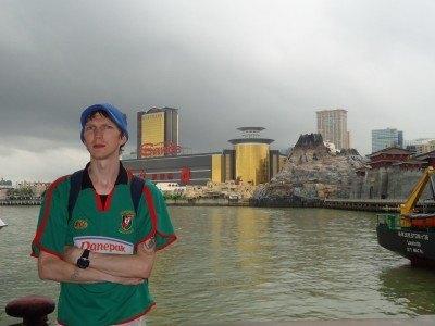 Football shirt wearing in Macau!