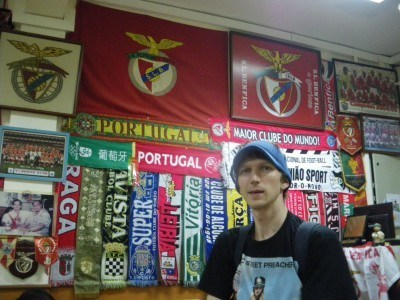 A cool bar of football scarves in Macau