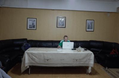 Jonny Blair working at Apple Hostel Bishkek Kyrgyzstan