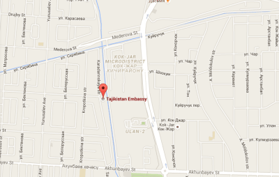 Location of Tajikistan Embassy in Bishkek