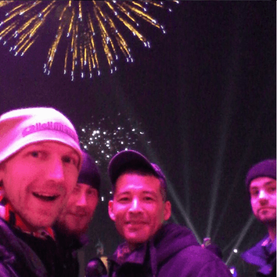 Nate Jacobs and I celebrating new year 2016 in Bishkek Kyrgyzstan