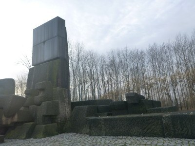 The memorial for the victims of Auschwitz.