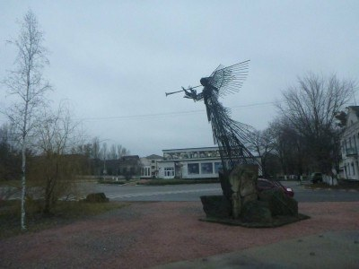 A monument in downtown Chernobyl