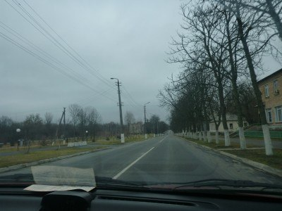 Driving down Soviet Avenue in central Chernobyl Town