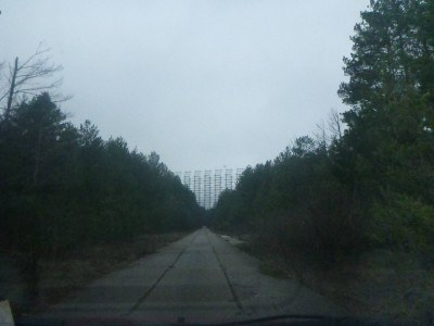 At the end of the secret concrete block highway sits the Duga Radar System.