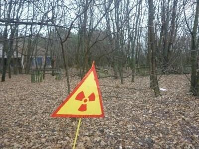 Radiation warning signs in downtown Kopachi