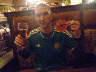 Enjoying a beer in Bochonok, Almaty, Kazakhstan