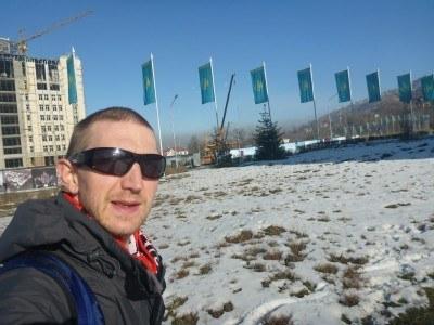 Kazakhstan flags on Dostyk Avenue