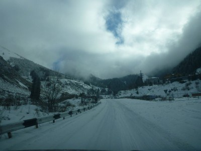 The snowy roads in Ile Alatau