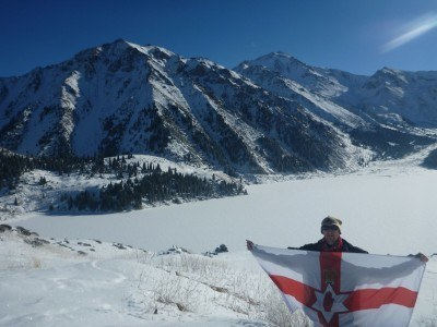 Flying my Northern Ireland flag in the mountains of Kazakhstan