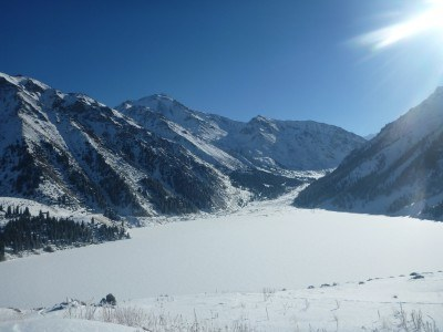 Almaty Lake - frozen over in Winter