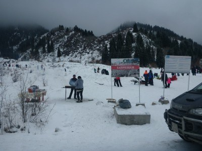 A recreational area in Ile Alatau National Park for tobogganing and barbecues