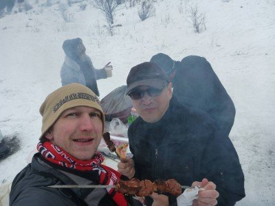 Aibek and I eating Shashlik in the Ile Alatau National Park, Kazakhstan