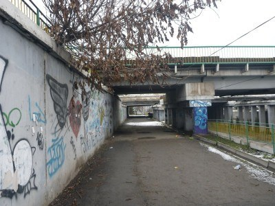 Under the flyover on Jukeev Pudovkin Street