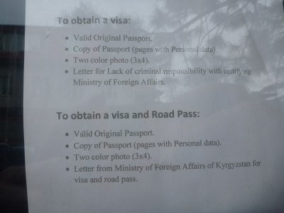 What you need to get a visa at the Afghanistan Embassy in Bishkek, Kyrgyzstan
