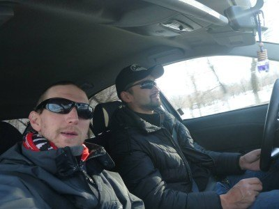 In the car on tour with Azamat, Iron Horse Nomads