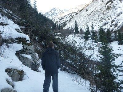 Admiring the views on the real hike to the Cemetery in Ala Archa