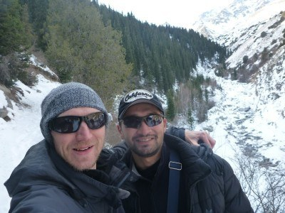 Azamat and I on the trail