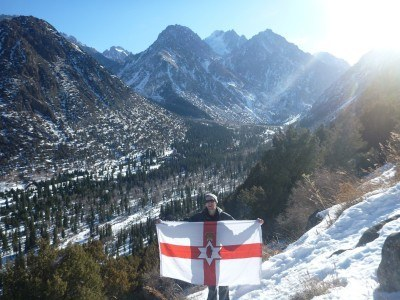 Flying my Northern Ireland flag in Kyrgyzstan