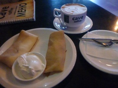 Coffee and cottage cheese pancakes at Cave Coffee