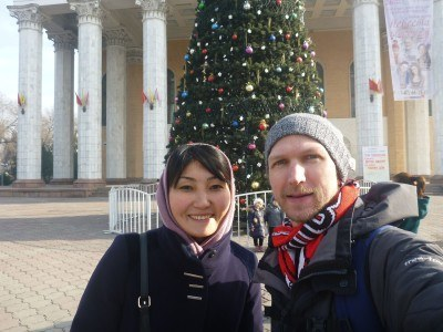 Aigul and I touring Bishkek