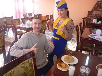 Chilling out in my favourite local restaurant in Bishkek, Kyrgyzstan
