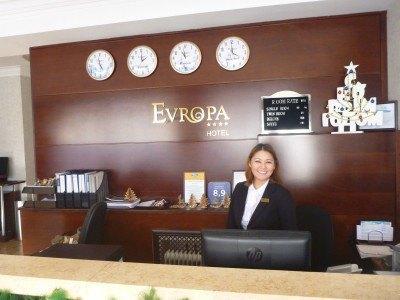 Astra greets me at the Luxury 4 Star Hotel Evropa in Bishkek, Kyrgyzstan