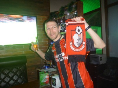 Watching AFC Bournemouth v. West Ham United in my new local pub, the Greenwich in Bishkek