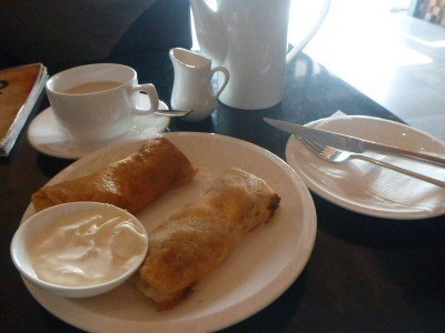 Tea and pancakes in Cave Coffee on Gorky Avenue