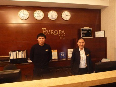 Manas and Camila at the Evropa Hotel in Bishkek