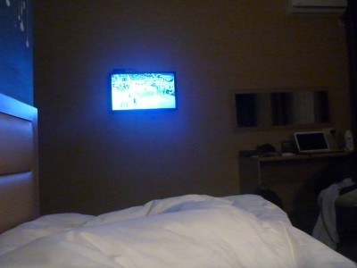 Watching TV at night from my bed