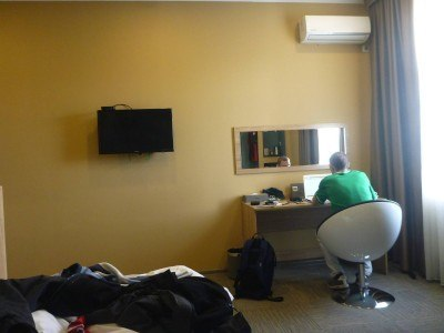 Blogging away in the Evropa Hotel in Bishkek